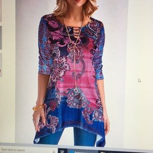 NWOT, printed asymmetric, round neck, blouse.